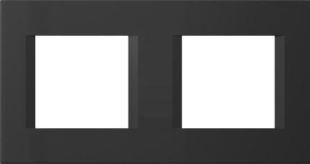Декоративна рамка пластикова колір чорний матовий серія Line німецький стандарт 2х2 модуля OL24SB