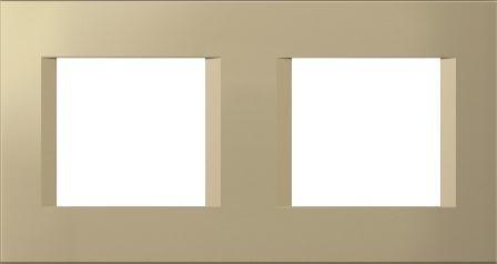 Декоративна рамка пластикова колір золотий металік серія Line німецький стандарт 2х2 модуля OL24SG