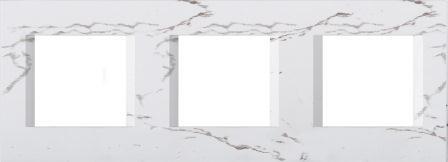 Декоративна рамка пластикова колір білий камінь серія Line німецький стандарт 3х2 модуля OL26SW