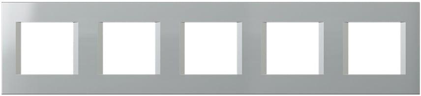 Декоративна рамка пластикова колір срібний металік серія Line німецький стандарт 5х2 модуля OL29ES