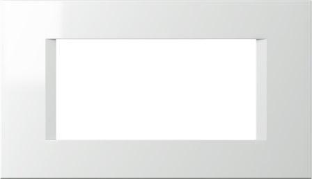 Декоративна рамка пластикова колір сніжно-білий серія Line італійський стандарт 4 модуля OL40PW