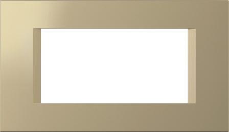 Декоративна рамка пластикова колір золотий металік серія Line італійський стандарт 4 модуля OL40SG