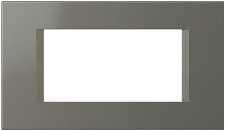 Декоративна рамка пластикова колір титан серія Line італійський стандарт 4 модуля OL40TI