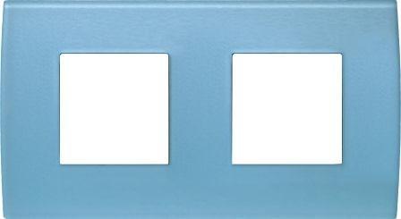 Декоративна рамка скляна колір блакитний лід серія PURE німецький стандарт 2х2 модуля OP24GB