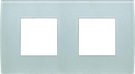 Декоративна рамка скляна колір зелений лід серія PURE німецький стандарт 2х2 модуля OP24GG