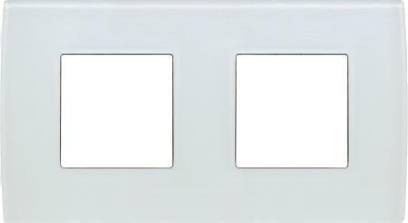 Декоративна рамка скляна колір білий лід серія PURE німецький стандарт 2х2 модуля OP24GW