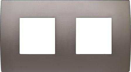 Декоративна рамка металева колір сатинований нікель серія PURE німецький стандарт 2х2 модуля OP24MN