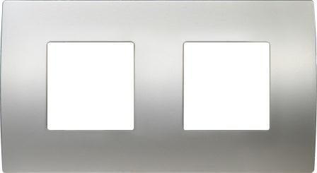 Декоративна рамка металева колір сатиноване срібло серія PURE німецький стандарт 2х2 модуля OP24MS