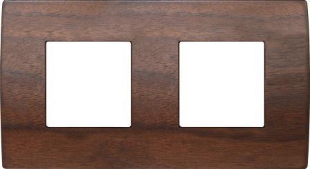 Декоративна рамка дерев'яна горіх серія PURE німецький стандарт 2х2 модуля OP24WW
