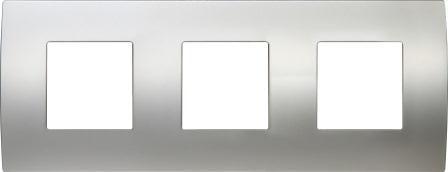 Декоративна рамка металева колір сатиноване срібло серія PURE німецький стандарт 3х2 модуля OP26MS