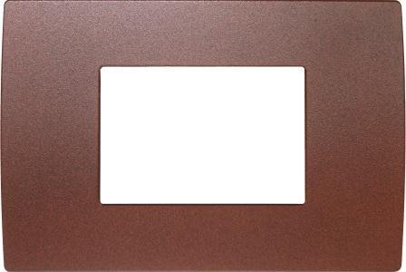 Декоративна рамка металева колір зістарений метал серія PURE італійський стандарт 3 модуля OP30ME