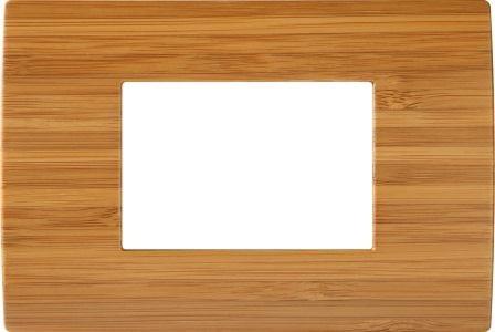 Декоративна рамка дерев'яна бамбук серія PURE італійський стандарт 3 модуля OP30WB