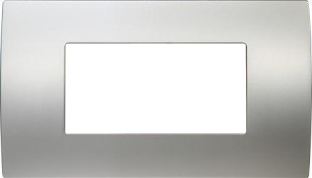 Декоративна рамка металева колір сатиноване срібло серія PURE італійський стандарт 4 модуля OP40MS