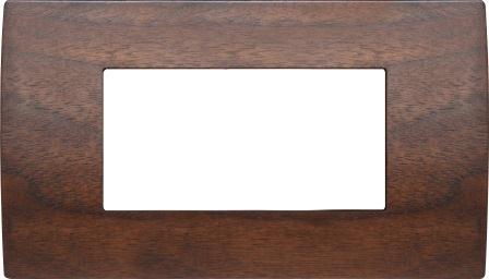 Декоративна рамка дерев'яна горіх серія PURE італійський стандарт 4 модуля OP40WW
