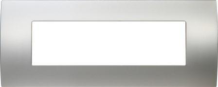Декоративна рамка металева колір сатиноване срібло серія PURE італійський стандарт 7 модулів OP70MS