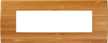 Декоративна рамка дерев'яна бамбук серія PURE італійський стандарт 7 модулів OP70WB