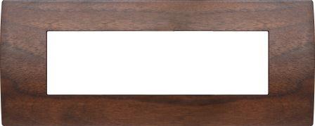Декоративна рамка дерев'яна горіх серія PURE італійський стандарт 7 модулів OP70WW