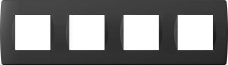 Декоративна рамка пластикова колір чорний матовий серія Soft німецький стандарт 4х2 модуля OS28SB