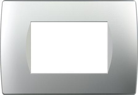 Декоративна рамка пластикова колір срібний металік серія Soft італійський стандарт 3 модуля OS30ES