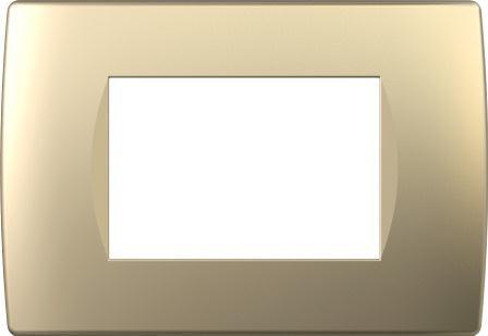 Декоративна рамка пластикова колір золотий металік серія Soft італійський стандарт 3 модуля OS30SG