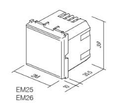 Вимикач-світлорегулятор універсальний, 2 модуля, колір срібний металік EM25ES