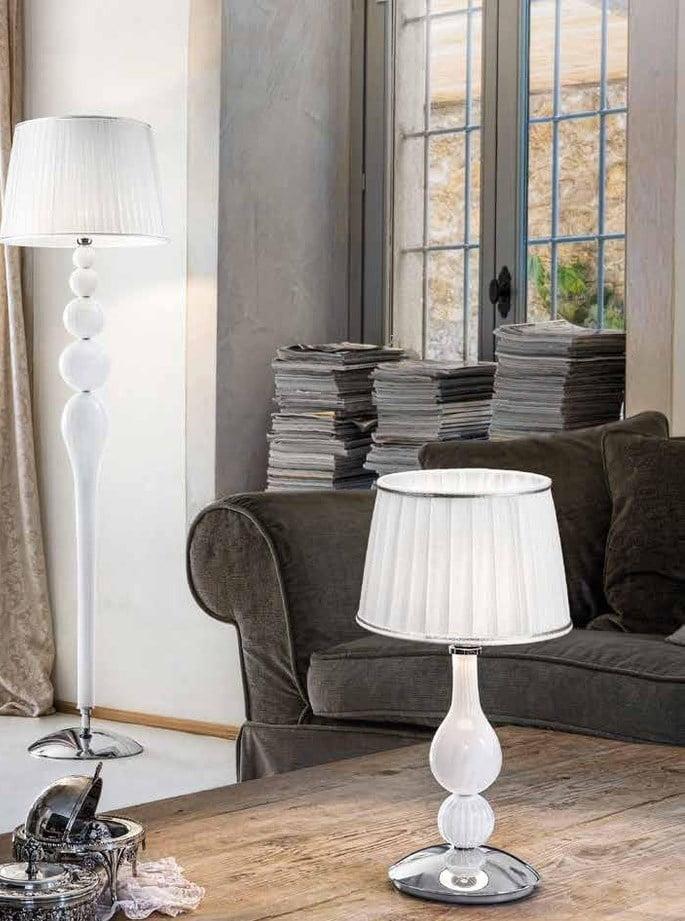Настільна лампа Sylcom 1422/35 біле скло з абажуром