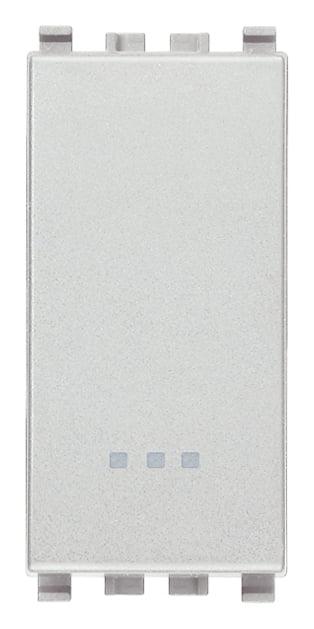 Вимикач прохідний (універсальний) 16А 250В 1 модуль колір срібний EIKON 20005.N