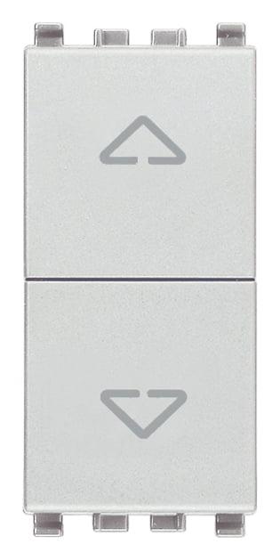 Вимикач для жалюзі 1-0-2 10А 250В 1 модуль колір срібний EIKON 20060.N