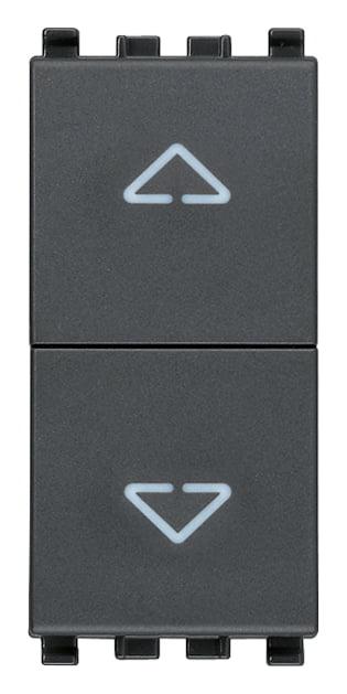 Вимикач кнопковий для жалюзі 1-0-2 10А 250В 1 модуль колір сірий EIKON 20062