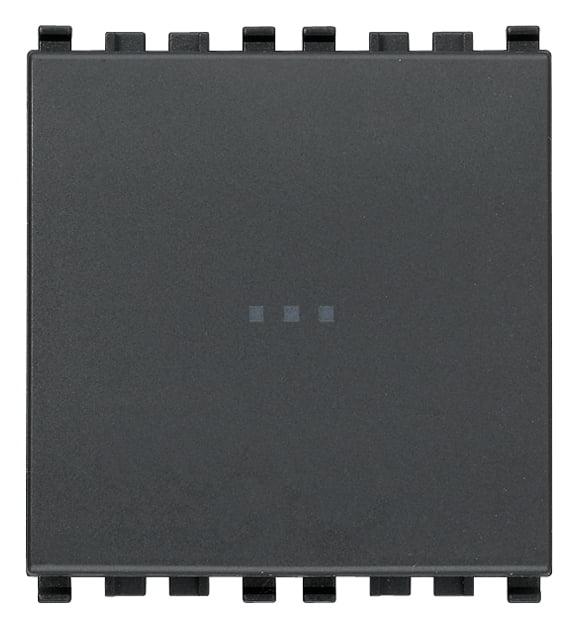 Вимикач прохідний (універсальний) аксіального (нажимного) типу 16А 250В 2 модулі колір сірий EIKON 20105.2