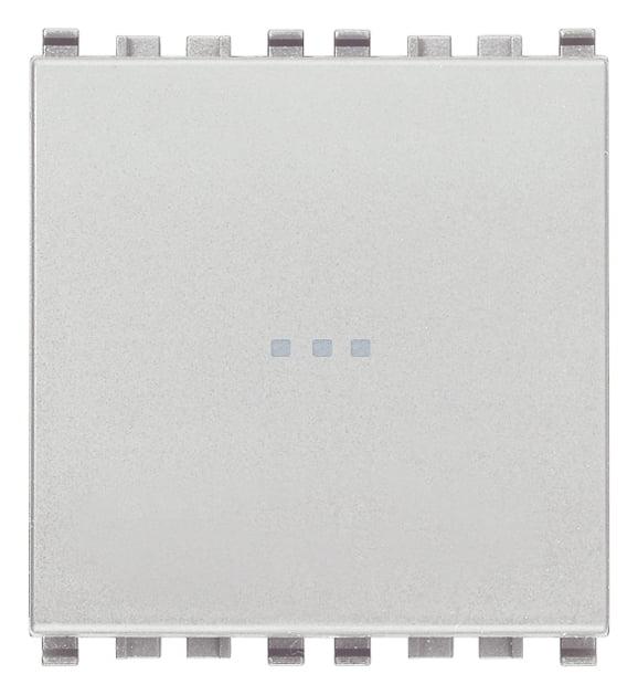 Вимикач прохідний (універсальний) аксіального (нажимного) типу 16А 250В 2 модулі колір срібний EIKON 20105.2.N