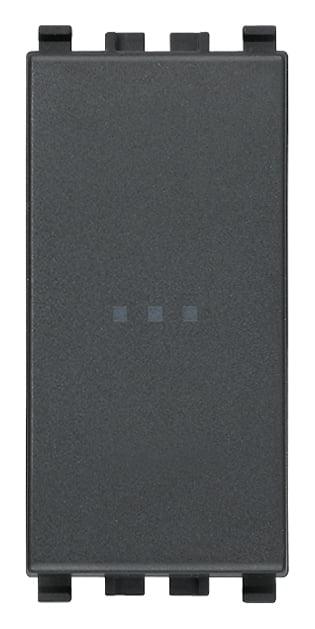Вимикач прохідний (універсальний) аксіального (нажимного) типу 16А 250В 1 модуль колір сірий EIKON 20105
