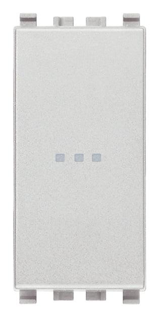 Вимикач прохідний (універсальний) аксіального (нажимного) типу 16А 250В 1 модуль колір срібний EIKON 20105.N