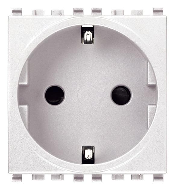 Розетка з заземлюючим контактом 2 модулі 16А, 250В колір білий EIKON 20208.B