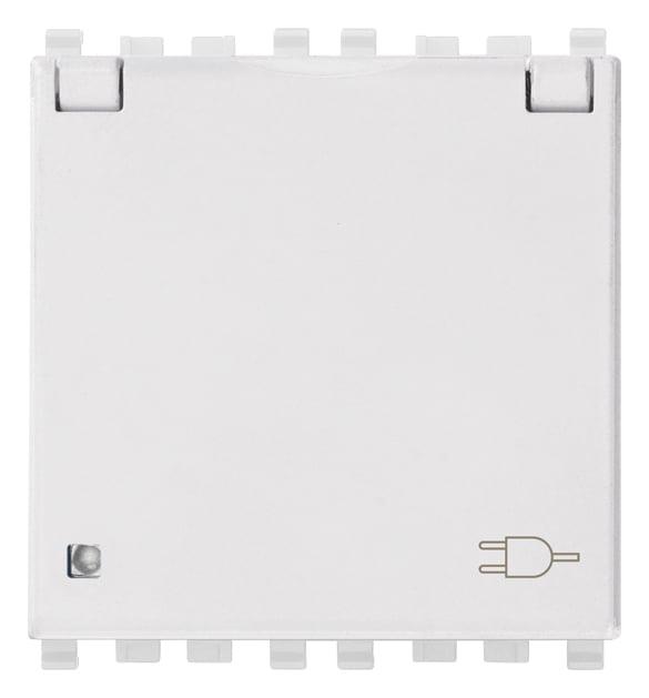 Розетка з заземлюючим контактом та кришкою 2 модулі 16А, 250В колір білий EIKON 20208.C.B