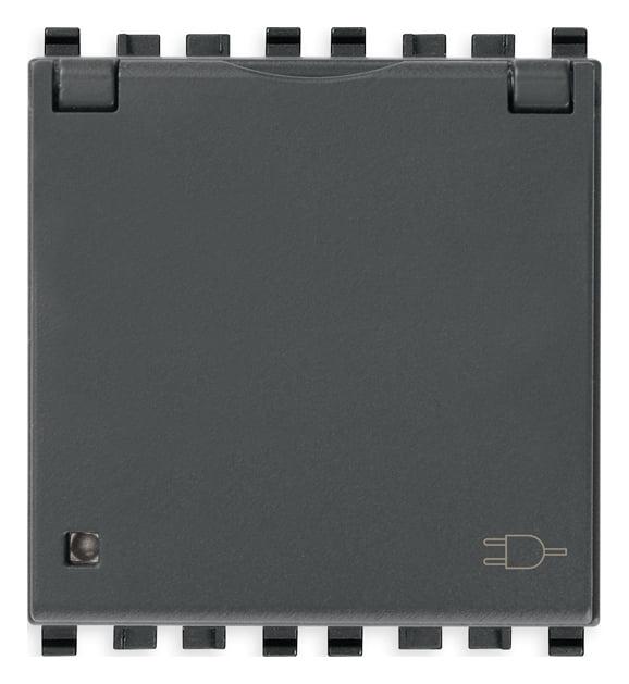 Розетка з заземлюючим контактом та кришкою 2 модулі 16А, 250В колір сірий EIKON 20208.C