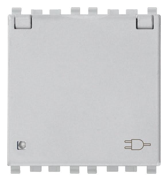 Розетка з заземлюючим контактом та кришкою 2 модулі 16А, 250В колір срібний EIKON 20208.C.N