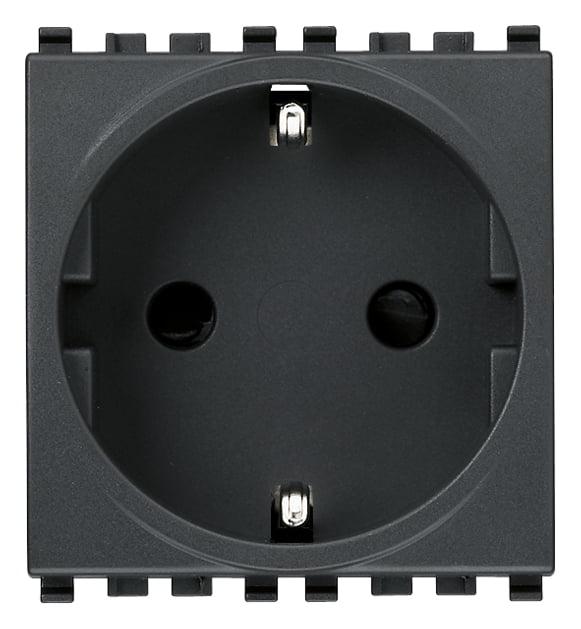 Розетка з заземлюючим контактом 2 модулі 16А, 250В колір сірий EIKON 20208