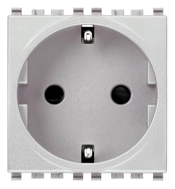 Розетка з заземлюючим контактом 2 модулі 16А, 250В колір срібний EIKON 20208.N