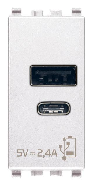 Зарядний пристрій USB тип А+C, 1 модуль 5В, 2,4А колір білий EIKON 20292.AC.B