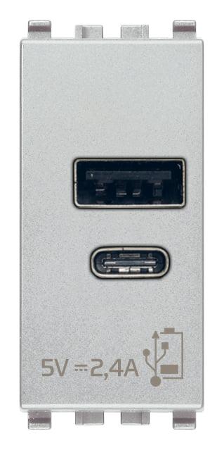 Зарядний пристрій USB тип А+C, 1 модуль 5В, 2,4А колір срібний EIKON 20292.AC.N