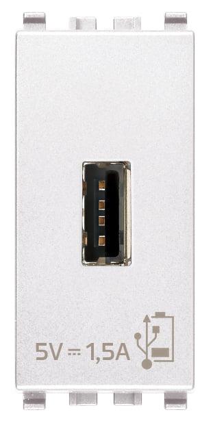 Зарядний пристрій USB тип А, 1 модуль 5В, 1,5А колір білий EIKON 20292.B