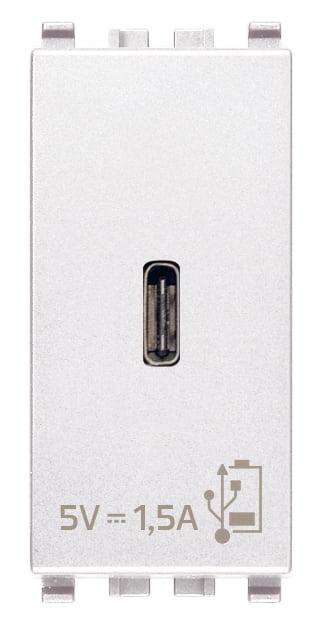 Зарядний пристрій USB тип C, 1 модуль 5В, 1,5А колір білий EIKON 20292.C.B