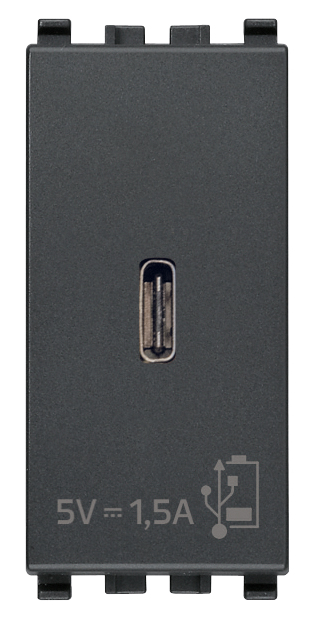 Зарядний пристрій USB тип C, 1 модуль 5В, 1,5А колір сірий EIKON 20292.C