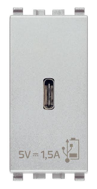 Зарядний пристрій USB тип C, 1 модуль 5В, 1,5А колір срібний EIKON 20292.C.N