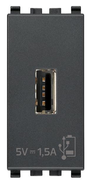Зарядний пристрій USB тип А, 1 модуль 5В, 1,5А колір сірий EIKON 20292