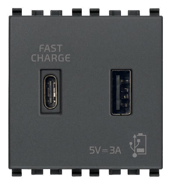 Зарядний пристрій USB тип А+C, 2 модулі 5В, 3А колір сірий EIKON 20295.AC