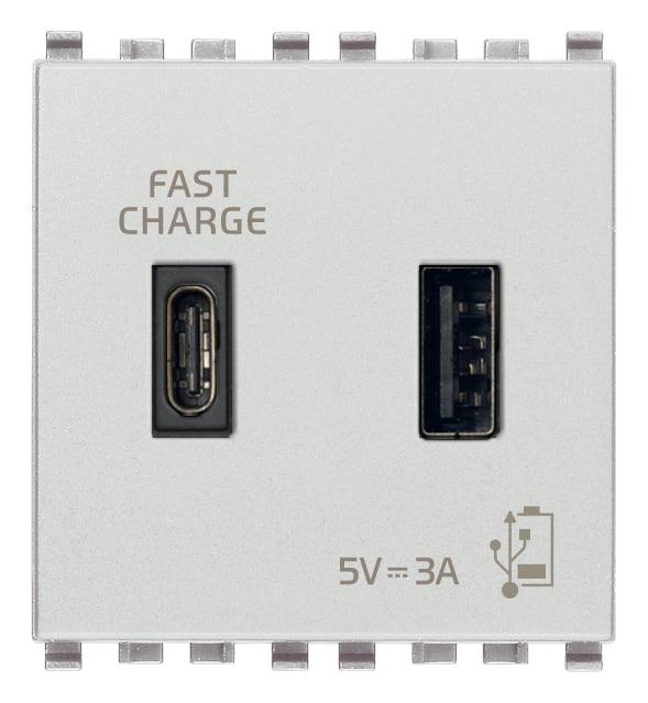 Зарядний пристрій USB тип А+C, 2 модулі 5В, 3А колір срібний EIKON 20295.AC.N