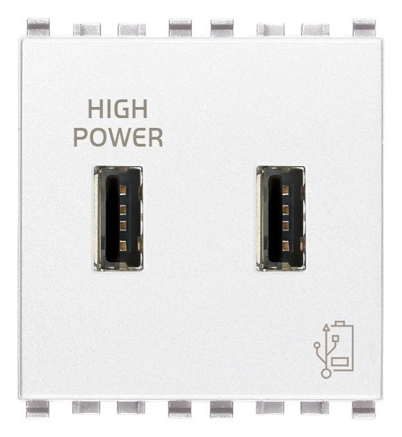 Зарядний пристрій USB тип А+A, 2 модулі 5В, 2,1А колір білий EIKON 20295.B