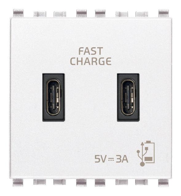 Зарядний пристрій USB тип С+C, 2 модулі 5В, 3А колір білий EIKON 20295.CC.B